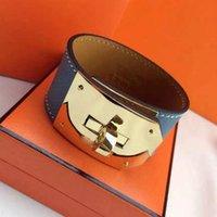 pulseira h amanha venda por atacado-Jóias por atacado H girando botão pulseira larga de couro H - letra mão cadeia moda mão - pulseira de couro estilo.