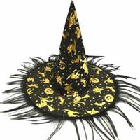 ingrosso kids wigs-2018 halloween 1 pz cappello di halloween cappello della strega fancy dress costume party cap partito decor per bambini cappelli parrucca cappello strega adulti bambini cosplay