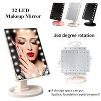 ingrosso interruttore di bellezza-Vendita calda 22 LED USB Luci tavolo Vanity specchio per il trucco Touch Screen da tavolo specchio di bellezza con interruttore di controllo tattile per uso domestico