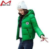 Wholesale Parka Jacket Girls - Wholesale- Women Short Winter Jackets and Coats Hooded Cotton Padded Parkas Female Outwear Girls Students Wadded Overcoat 2017 New Y1006