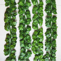 Wholesale wire rattan resale online - 2 M Wired Ivy Leaves Garland Silk Artificial Vine Greenery For Wedding Home Office Decoratiove Wreaths New Style