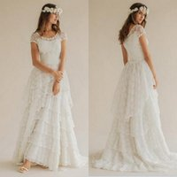 Wholesale china scoop resale online - Bohemian Spring Summer Beach Wedding Dresses Boho Lace Scoop Neck Short Sleeve Tiered Long Bridal Gowns Custom Made in China