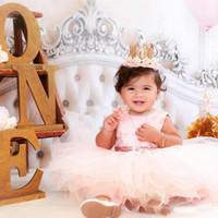 vestidos infantiles de oro del desfile al por mayor-Cute Baby Infant Toddler Formal Vestidos de fiesta Blush Pink Rose Gold Lentejuelas Bow Sash Short Tutu Girls Vestidos del desfile Barato 2019