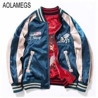 Wholesale japan women jacket - Wholesale- Aolamegs Japan Yokosuka Embroidery Jacket Men Women Fashion Vintage Baseball Uniform Both Sides Wear Kanye West Bomber Jackets