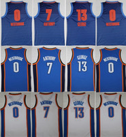 Wholesale Paul George Jersey - 2018 Men Swingman Jersey 0 Russell Westbrook 13 Paul George 7 Carmelo Anthony 100% Stitched Jerseys Cheap NCAA College mixed Order