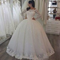 Wholesale vintage clean resale online - 2019 Spring Lace Ball Gown Wedding Dresses Bridal Gowns Illusion Arabic Vintage Long Sleeve Clean and Modern Vestido de Noiva Custom Made