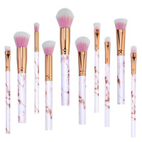 Wholesale Brush Plastic Handles - Kabuki Brushes 10Pcs Set Professional Makeup Brushes Marbling Handle Eye Shadow Eyebrow Lip Eye Make Up Brush Comestic Tool