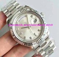 белые часы для мужчин оптовых-Роскошные часы мужские часы развертки белое лицо с автоподзаводом механизм механические алмазы день серебро из нержавеющей оригинальный Застежка мужские часы