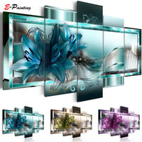 Wholesale piece lily painting resale online - Modern Canvas Painting Pieces Wall Art Beautiful Abstract Lily Flower Wall Decoration Living Room and Bedroom Decor Picture