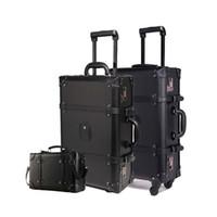 винтажные чемоданы оптовых-Ретро черный прокатки багажа набор Spinner женщин пароль тележки 24-дюймовый чемодан колеса 20 дюймов старинные кабины дорожная сумка багажник