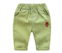 pantalones verdes para niños al por mayor-Pantalones de verano para niños y niñas, pantalones de niños recortados Pantalones 4 colores (3-8T, blanco / amarillo / rosa / verde)