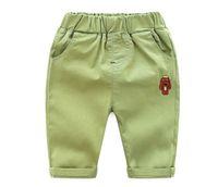 ingrosso pantaloni gialli-Pantaloni estivi per ragazzi e ragazze, Pantaloni corti per bambini Pantaloni 4 colori (3-8T, bianco / giallo / rosa / verde)
