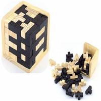головоломка белая оптовых-Черно-белый Тетрис деревянный волшебное ведро разведки Конг мин замок традиционные игрушки 54Т сочетание головоломки блок 9cb Вт