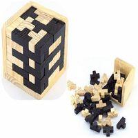 Wholesale Locking Block - Black And White Tetris Wooden Magic Bucket Intelligence Kong Ming Lock Traditional Toys 54T Combination Puzzle Block 9cb W
