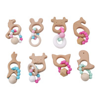 Wholesale Wooden Shaped Beads - Wholesale- 2017 New Classic Infant Rattles Mobiles Animal Shaped Baby Teether Wooden Baby Silicone Beads Stroller Baby Toys