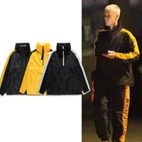 Wholesale Green Hoodie Trench - Justin Bieber Windbreaker Jacket Men Women Fashion Half-Zip Trench Coat Side Striped Pullover Hoodie Jackets MJG1113