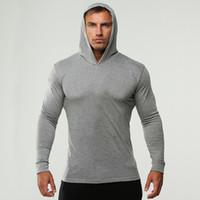 atletik hoodie toptan satış-Erkek Spor Fitness Hoodies Katı Renk Kapüşonlu Atletik Rahat Spor Tişörtü Uzun Kollu Tops