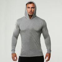 athletischer hoodie großhandel-Mens GYM Fitness Hoodies Volltonfarbe mit Kapuze sportlich lässig Sport Sweatshirts Tops mit langen Ärmeln