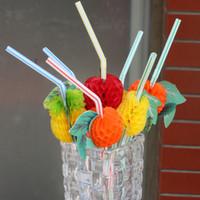 modelagem de arte venda por atacado-CColour Palhas De Plástico Fruit Modelagem Dobrável Tubularis Adorável Art Decore Decorável Palha Para O Partido Bar Artigos de Aniversário 0 1rs UU