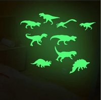 Wholesale glow dark animals online - Glow In The Dark Dinosaurs Stickers Luminous Cartoon Dinosaur Wall Stickers Baby Kid Room Wall Decor OOA5804