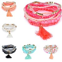Wholesale crystal mala - New Bohemian Beach Multilayer crystal Beads Tassel Charm Bracelets Bangles For Women Gift Wrist Mala Bracelet drop ship 320116