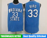 Wholesale Indiana Jersey - HOT INDIANA State College NCAA Stitched 33 Larry Bird Stitched embroidery Swingman jerseys Jersey SHIRTS cheap sport basketball retro