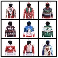 ciervos sudaderas al por mayor-Navidad 3D Print Men Boy Hoodie 9 Estilos Muñeco de nieve Deer Elk Sweatshirt Pullover Jumpers Xmas Overcoat Tops Ropa de gimnasia OOA5475