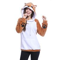 karikatür hoodie bayanlar toptan satış-Giraffita Karikatür Tilki hoodies Kadınlar Hoodies Patchwork Tavşan Kulak kapşonlu Tişörtü Kadın Lady Hoodie Ceket artı boyutu