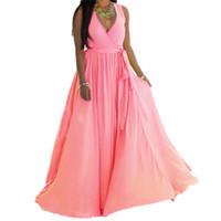 женские платья оптовых-Жаркое лето сексуальные женщины платье глубокий V шеи без рукавов повседневная полная длина Леди платье размер S-3XL