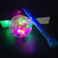 karikatur nachtmarkt großhandel-Griff Flash Ball LED tragbare Welle Ball Laterne Kupferdraht Lampe Cartoon leuchtende Welle Ball Nachtmarkt Mode