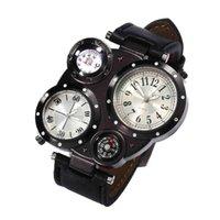 vea chic al por mayor-Chic Dual Movement 4 Dials reloj para hombre reloj de pulsera de cuarzo impermeable al aire libre brújula