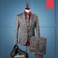 Wholesale wedding dresses feast - 2018 Wedding Wear Print Suits & Blazer Men Good Quality Suits Fashion Male Smart Casual Dress Feast Jackets+Pants+Vest 980