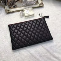 Wholesale Trend Big Bags - Big Popular Genuine Leather Black Clutch Bags Fashion Trends Cosmetic Bags Free Shipping