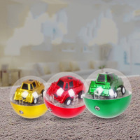 Wholesale flash remote controller online - Mini Rounded Remote Control Car Football Shape Q Version Two Channel Flash Of Light Infrared Car Flexibly Model Toy yh W