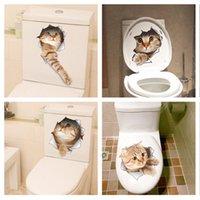 ingrosso adesivi da bagno-Adesivi murali gatti 3D Adesivi toilette Visualizza fori Vivid Cani Decorazione stanza da bagno Animali Decalcomanie in vinile Adesivo Art Poster da parete