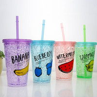 Wholesale cool water cooled pcs online - 450ML Capacity Summer Colorful Cool Cold Ice Fashion Ice Cup Double Plastic Straw Cup Couple Gift Cup Water Juice Bottles Drinkware T2I225