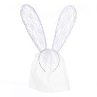 bandeaux de lapin de pâques achat en gros de-Oreilles de lapin en dentelle Voile Halloween Dress Up Headband Oreilles de lapin Sexy Oreille de lapin en dentelle Bandeau pour discothèques de Pâques