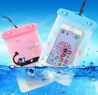 ingrosso telefoni mobili cellulari-Custodia impermeabile in PVC trasparente per telefono cellulare in cartone animato