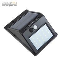 lumières de porche de mouvement achat en gros de-Zita Lighting LED Solaire Murale Extérieure 20LED Capteur De Mouvement Éclairage de secours Jardin Voie Lampes Allée Porche Panneau Solaire Projecteur