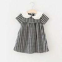 Wholesale cotton bud wholesale for sale - 2018 kids clothing new arrivals Girls Lovely dress pet pan collar short sleeve plaid print dress cotton girl kids elegant ins dress