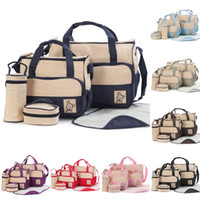 Wholesale mom bag set - 5pcs Baby Diaper Bag Suits For Mom Mommy Bags Nappies Handbags Mummy Stroller Maternity Nappy Bags Sets