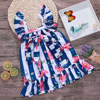 Wholesale white cotton beach dress - New Girls Striped Dress Adjustable Waist Square collar Bow Floral Dresses Wide Blue and White Stripes Girls Outfit for Summer 1-6T