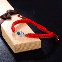 kırmızı örgü bilezikler toptan satış-Moda fatima'nın el zincir bilezik kırmızı halatlar el örme ine mavi göz palm charm Turn iyi şans manşet Bileklik takı DIY hediye