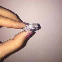 925 ring swarovski großhandel-Europäische 925 Sterling Silber drehbare weibliche Kristall von Swarovski einfache Temperament Paar Ring Modeschmuck Y18102510
