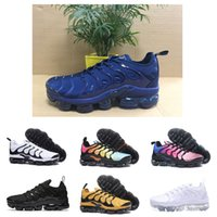 Wholesale Breathable Metal - New Vapormax TN Plus Running Shoes Classic Outdoor Run Shoes Vapor tn Black White Sport Shock Sneakers Men requin Olive Silver In Metal