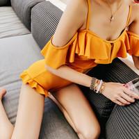 ingrosso giallo costume da bagno halter-2019 Costume da bagno intero fasciatura giallo solido Costumi da bagno donna costume intero Halter Maillot De Bain Costume da bagno sexy