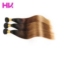 bakire hint saçları toptan satış-T1B / 4/27 ombre düz hint saç örgü 3 paketler siyah kahverengi sarışın İnsan saç virgin remy saç uzatma