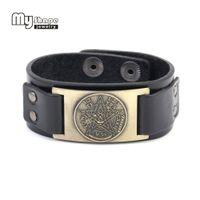 ingrosso braccialetti pentagrammi-la mia forma Tetragrammaton Pentacle Pentagram braccialetto bracciale per gli uomini Regalo Amulet Wiccan Talismano Pendenti Gioielli