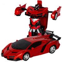carro controlado para crianças venda por atacado-Carro 2em1 Transformação Robots Modelos remoto de brinquedo de controle crianças Crianças