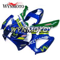 kit de carenado motocicleta honda 929 al por mayor-Carenados de la motocicleta aptos para Honda CBR900RR 929 Año 2000 - 2001 CBR900RR 00 01 Kit de carenados completos Alta calidad CBR900RR Movistar Blue
